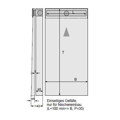 Duschelemente mit Duschrinne 90/90 cm