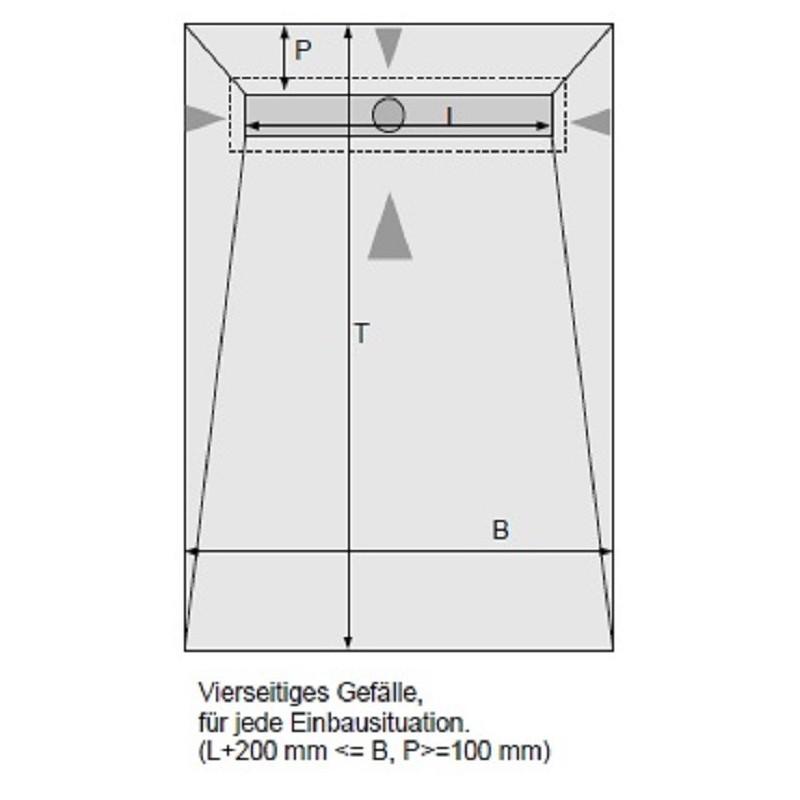 duschelement mit dallmer duschrinne 120x90 cm bodeneben verfliesbar inkl ablauf edelstahlabdeckung. Black Bedroom Furniture Sets. Home Design Ideas